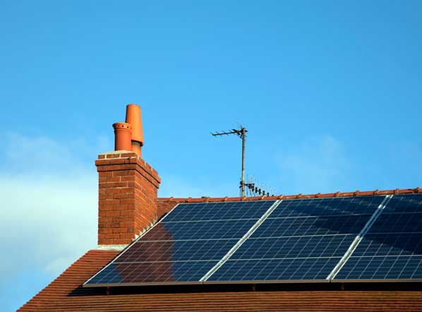 property roof with solar panel