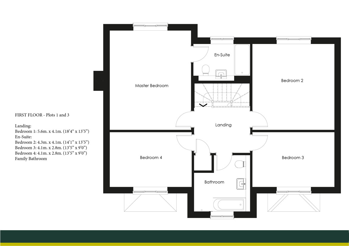 SHAPLEY GRANGE PLOTS 1 AND 3 FIRST FLOOR PLANS