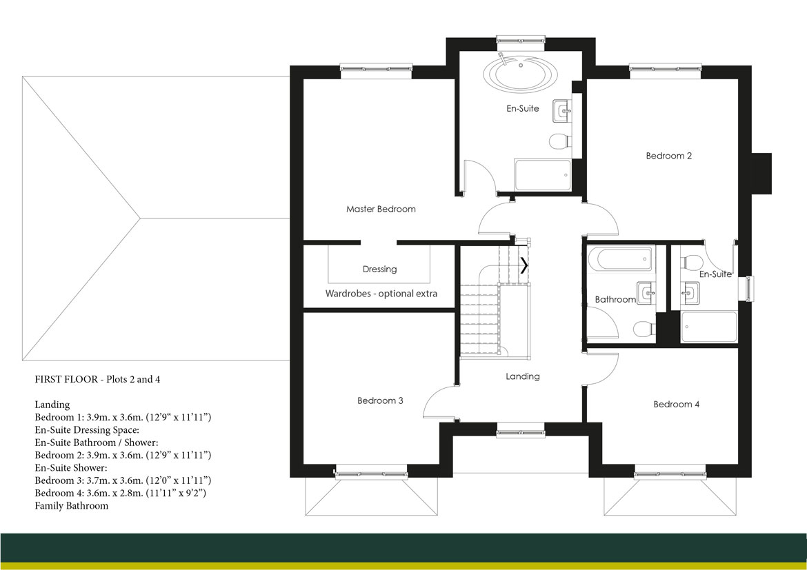 SHAPLEY GRANGE PLOTS 2 AND 4 FIRST FLOOR PLANS